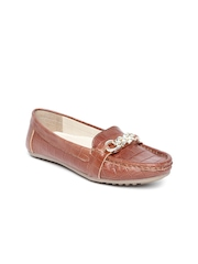 Carlton London Women Brown Textured Leather Loafers