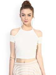 Veni Vidi Vici White Cold Shoulder Crop Top