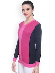 Miss Grace Pink & Navy Colour Block Sweater
