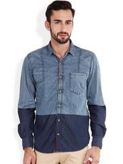 IVOC Blue Slim Fit Denim Casual Shirt