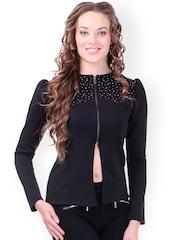 SASSAFRAS Black Embellished Slim Fit Jacket