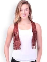 SASSAFRAS Brown Crop Waistcoat