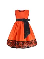 Peaches Girls Orange Fit & Flare Dress