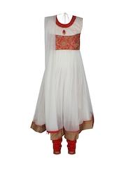 Jazzup Girls White & Red Embroidered Churidar Kurta with Dupatta