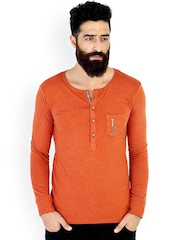 MR BUTTON Orange Henley T-shirt
