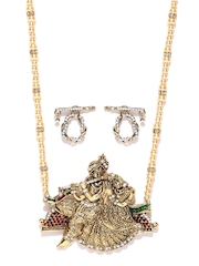 Zaveri Pearls Gold-Toned Synthetic Pearl Jewellery Set