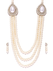 Zaveri Pearls Off-White Synthetic Pearl Jewellery Set