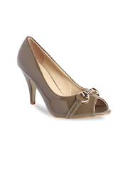 Jove Women Brown Peep-Toes