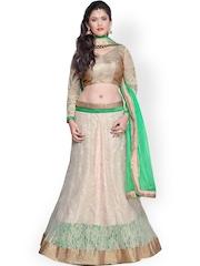 Janasya Cream-Coloured & Green Supernet Semi-Stitched Lehenga Choli
