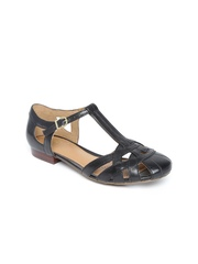 Clarks Women Black Leather Flats
