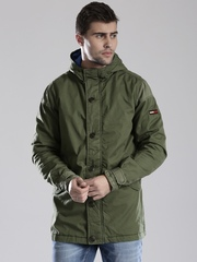 Tommy Hilfiger Olive Green Padded Hooded Jacket