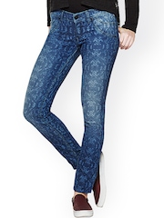 AND by Anita Dongre Blue Printed Skinny Jeans