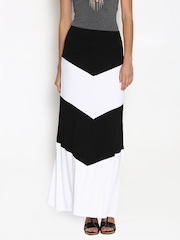 Boohoo Black & White Panelled Maxi Skirt