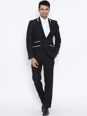 Raymond Black Dual-Toned Single-Breasted Contemporary Fit Partywear Suit