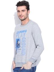 NU ECO Grey Melange Printed Sweatshirt