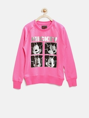 Mickey by Kids Ville Girls Pink Printed Sweatshirt