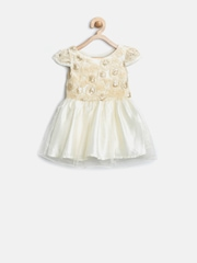 Gini & Jony Girls Cream-Coloured Sequinned Fit & Flare Dress