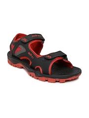 Spinn Men Black & Red Burn Sports Sandals