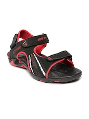 Spinn Men Black & Red Burn Sports Sandals