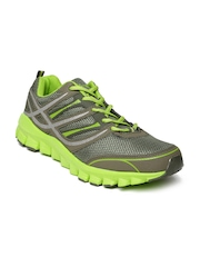 Spinn Men Grey & Green Mile Runner Running Shoes