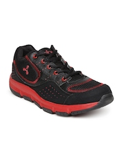 Spinn Men Black Aztrec Printed Running Shoes