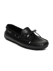 Tommy Hilfiger Men Black Leather Boat Shoes