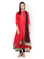 Aujjessa Red & Black Asymmetrical Anarkali Churidar Kurta with Dupatta