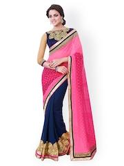 Indian Women Pink & Blue Georgette Embellished Saree