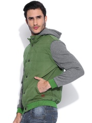 Flying Machine Green Hooded Jacket