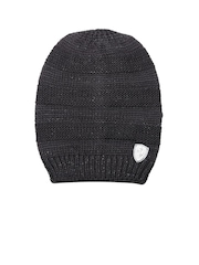 PUMA Women Black Patterned Ferrari Beanie