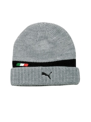 PUMA Men Grey Patterned Ferrari Beanie
