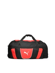 PUMA Unisex Black & Red Duffle Bag with Wheels