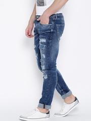Jack & Jones Blue Washed Distressed Tim Fit Jeans