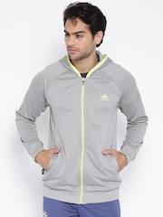 Adidas Grey Melange Clima Hooded Tennis Jacket