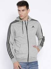 Adidas Grey Melange ESS 3S FZ Hooded Training Sweatshirt