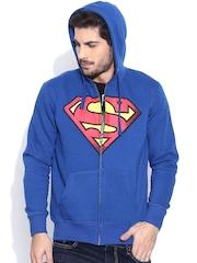 Superman Blue Hooded Printed Sweatshirt
