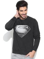 Superman Charcoal Grey Printed Sweatshirt