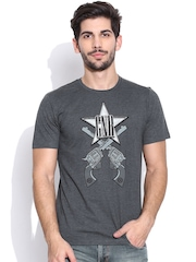 Guns & Roses Charcoal Grey Printed T-shirt