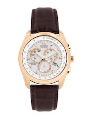 Citizen Men Eco-Drive White Dial Chronograph Watch AT1183-07A