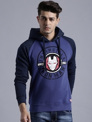 IRON MAN By KNK Blue Printed Hooded Sweatshirt
