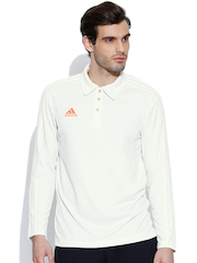 Adidas White LS SHIR Cricket Polo T-shirt