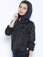 United Colors of Benetton Black Printed Hooded Jacket