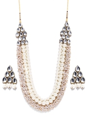 Zaveri Pearls Off-White Gold-Plated Jewellery Set