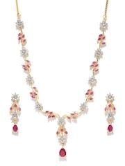 Zaveri Pearls Magenta Gold-Plated CZ Stone-Studded Jewellery Set