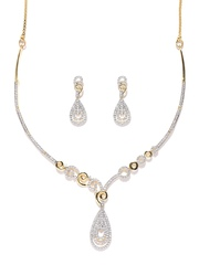 Zaveri Pearls Silver-Toned Gold-Plated CZ Stone-Studded Jewellery Set