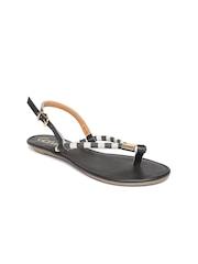 Catwalk Women Charcoal Grey & Off-White Striped Flats