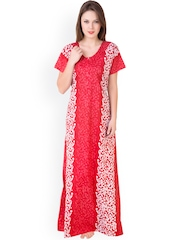 Masha Red Printed Maxi Nightdress NT3-166