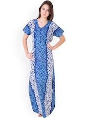 Masha Blue Printed Maxi Nightdress NT3-167
