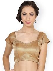 La Firangi Light Brown Brocade Stitched Embroidered Saree Blouse