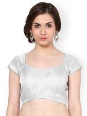 La Firangi Silver-Tooned Brocade Stitched Embroidered Saree Blouse